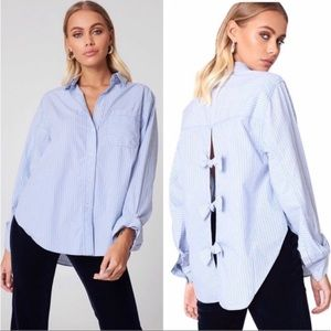 Free People Bow Back Striped Long Sleeve Shirt, S